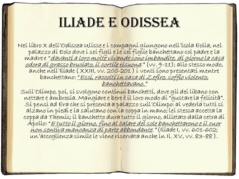 Iliade e Odissea Nel libro X dellOdissea Ulisse e i compagni giungono nellisola Eolia, nel palazzo di Eolo dove i sei figli e le sei figlie banchettan