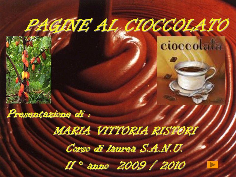 PAGINE AL CIOCCOLATO Presentazione di : MARIA VITTORIA RISTORI Corso di laurea S.A.N.U. II ° anno 2009 / 2010
