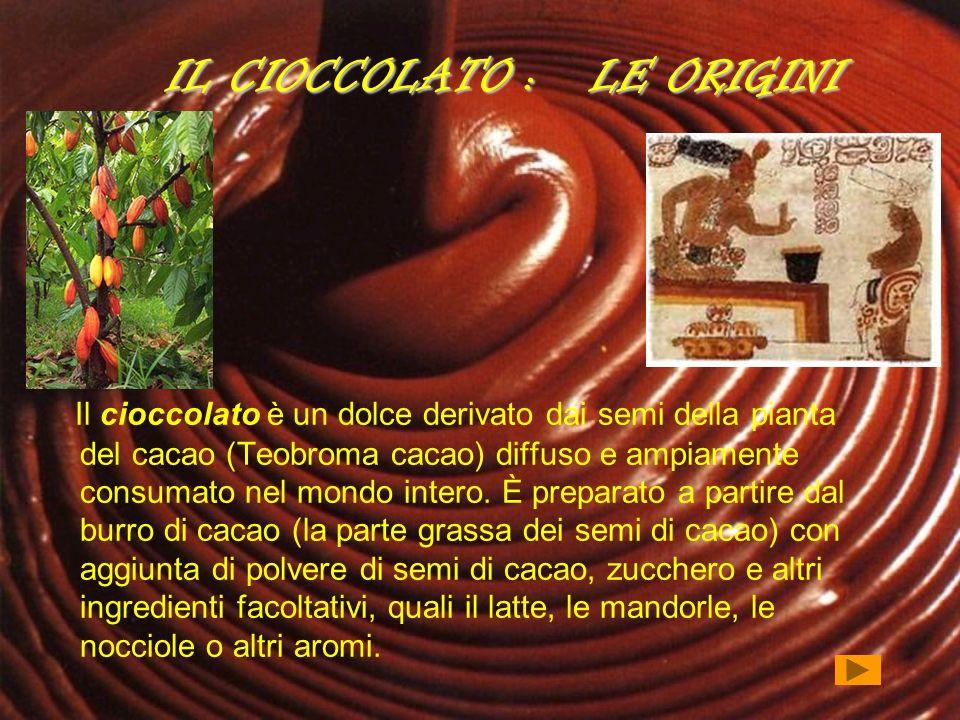 IL CIOCCOLATO : LE ORIGINI Il cioccolato è un dolce derivato dai semi della pianta del cacao (Teobroma cacao) diffuso e ampiamente consumato nel mondo