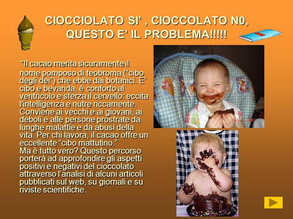 CIOCCIOLATO SI, CIOCCOLATO N0, QUESTO E IL PROBLEMA!!!!! Il cacao merita sicuramente il nome pomposo di teobroma (cibo degli dei) che ebbe dai botanic