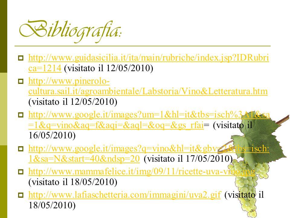 Bibliografia: http://www.guidasicilia.it/ita/main/rubriche/index.jsp?IDRubri ca=1214 (visitato il 12/05/2010) http://www.guidasicilia.it/ita/main/rubr