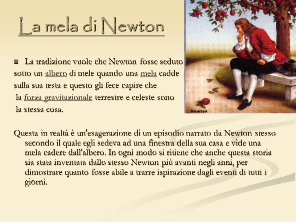 La mela di Newton La tradizione vuole che Newton fosse seduto La tradizione vuole che Newton fosse seduto sotto un albero di mele quando una mela cadd