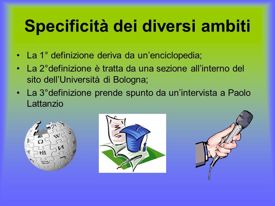 Specificità dei diversi ambiti La 1° definizione deriva da unenciclopedia; La 2°definizione è tratta da una sezione allinterno del sito dellUniversità