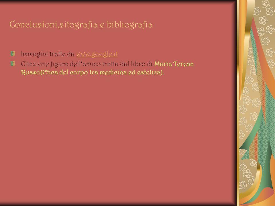 Conclusioni,sitografia e bibliografia Immagini tratte da www.google.itwww.google.it Citazione figura dellamico tratta dal libro di Maria Teresa Russo(Etica del corpo tra medicina ed estetica).