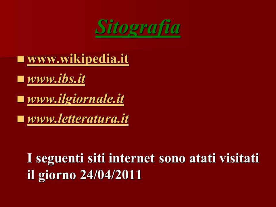 Sitografia www.wikipedia.it www.wikipedia.it www.wikipedia.it www.ibs.it www.ibs.it www.ibs.it www.ilgiornale.it www.ilgiornale.it www.ilgiornale.it w