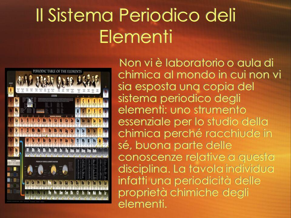 Il Sistema Periodico deli Elementi Non vi è laboratorio o aula di chimica al mondo in cui non vi sia esposta una copia del sistema periodico degli ele