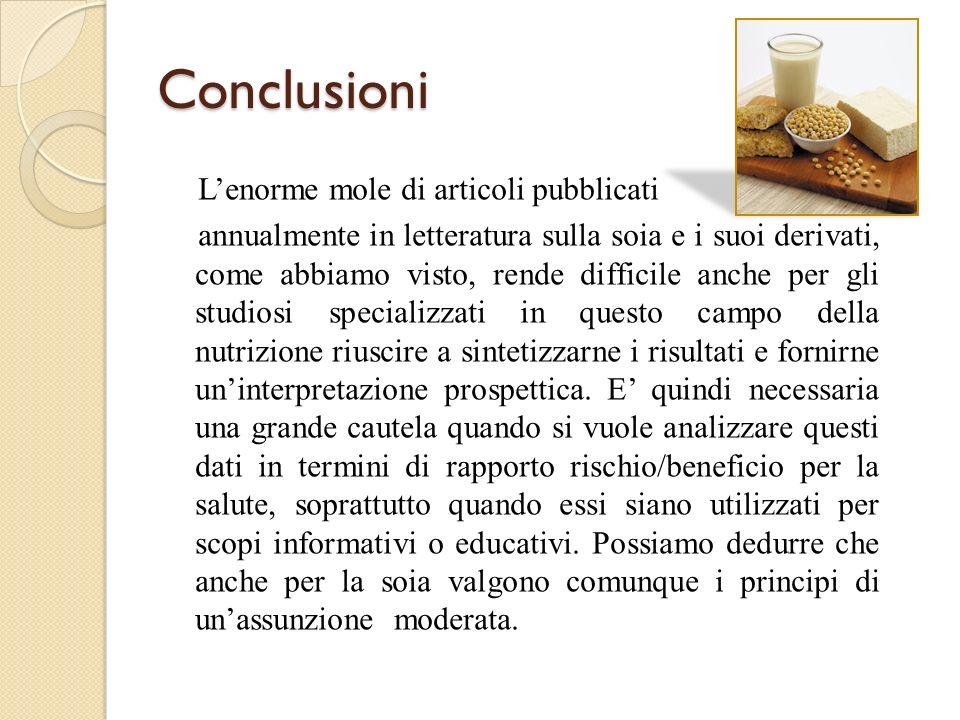 Conclusioni Lenorme mole di articoli pubblicati annualmente in letteratura sulla soia e i suoi derivati, come abbiamo visto, rende difficile anche per