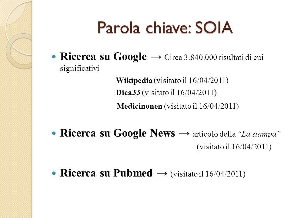 Parola chiave: SOIA Parola chiave: SOIA Ricerca su Google Circa 3.840.000 risultati di cui significativi Wikipedia (visitato il 16/04/2011) Dica33 (vi