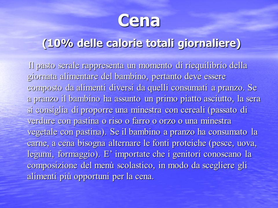 Cena (10% delle calorie totali giornaliere) Il pasto serale rappresenta un momento di riequilibrio della giornata alimentare del bambino, pertanto dev