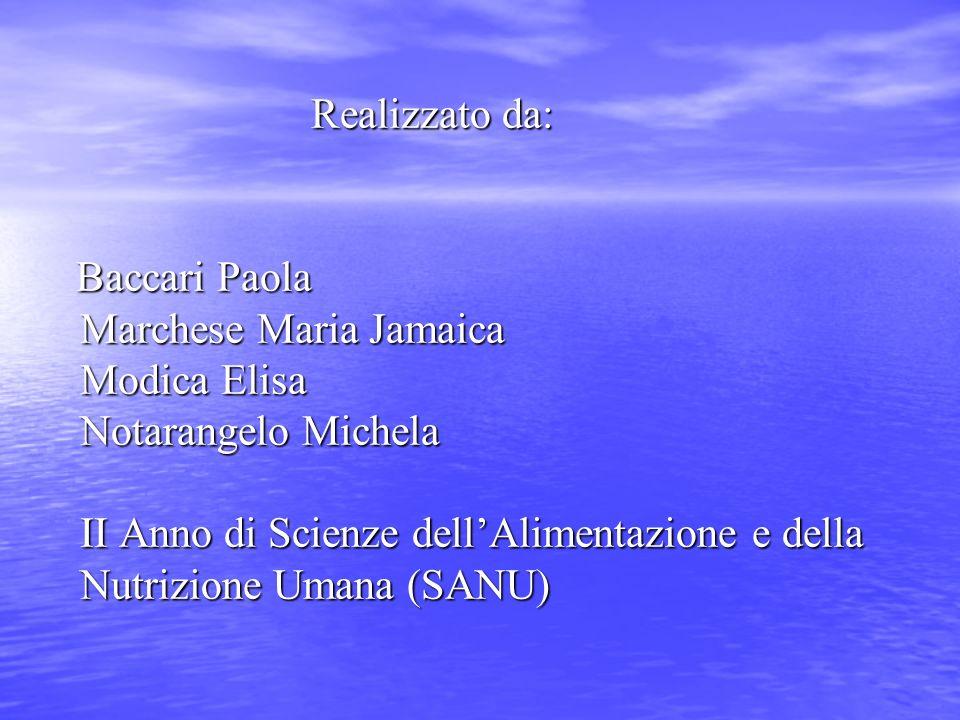 Realizzato da: Realizzato da: Baccari Paola Marchese Maria Jamaica Modica Elisa Notarangelo Michela II Anno di Scienze dellAlimentazione e della Nutri