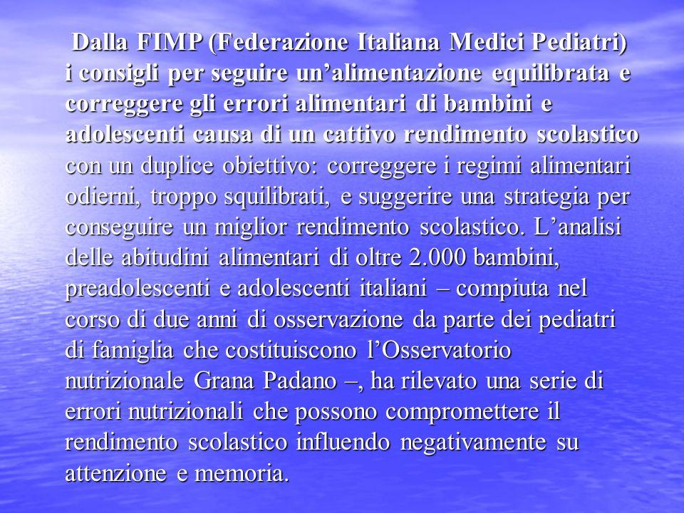 Dalla FIMP (Federazione Italiana Medici Pediatri) i consigli per seguire unalimentazione equilibrata e correggere gli errori alimentari di bambini e a