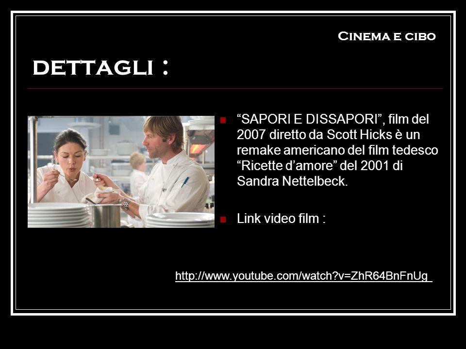 Cinema e cibo dettagli : SAPORI E DISSAPORI, film del 2007 diretto da Scott Hicks è un remake americano del film tedesco Ricette damore del 2001 di Sa