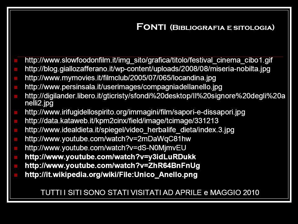 Fonti (Bibliografia e sitologia) http://www.slowfoodonfilm.it/img_sito/grafica/titolo/festival_cinema_cibo1.gif http://blog.giallozafferano.it/wp-cont