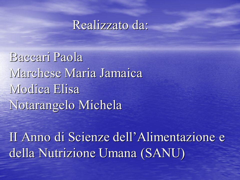 Realizzato da: Baccari Paola Marchese Maria Jamaica Modica Elisa Notarangelo Michela II Anno di Scienze dellAlimentazione e della Nutrizione Umana (SA