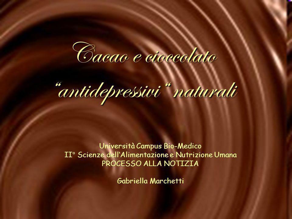 Università Campus Bio-Medico II° Scienze dellAlimentazione e Nutrizione Umana PROCESSO ALLA NOTIZIA Gabriella Marchetti Cacao e cioccolato antidepress