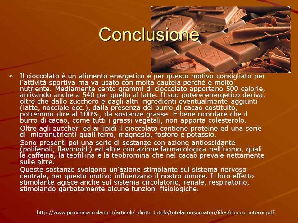 Conclusione Il cioccolato è un alimento energetico e per questo motivo consigliato per lattività sportiva ma va usato con molta cautela perché è molto nutriente.