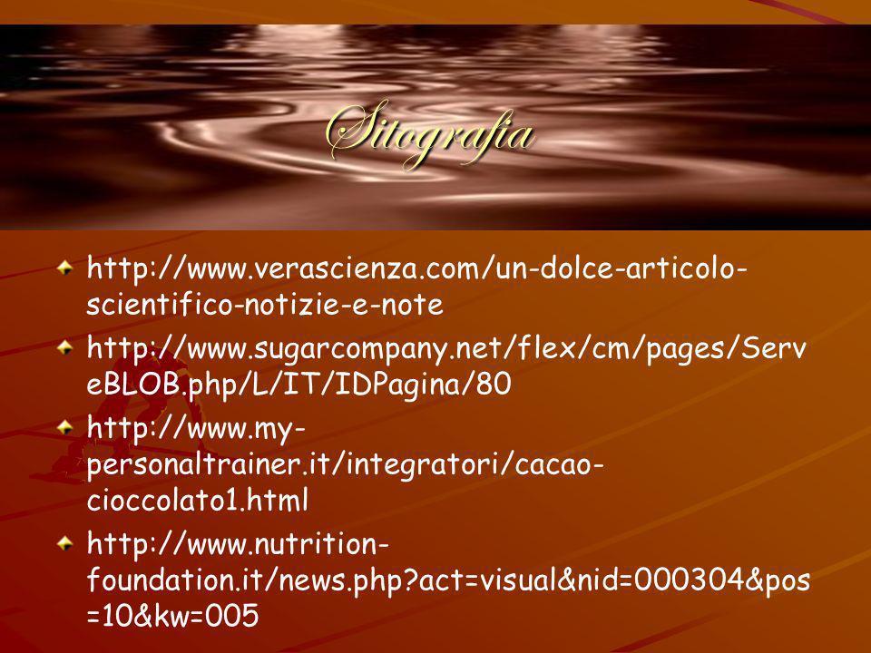 Sitografia http://www.verascienza.com/un-dolce-articolo- scientifico-notizie-e-note http://www.sugarcompany.net/flex/cm/pages/Serv eBLOB.php/L/IT/IDPagina/80 http://www.my- personaltrainer.it/integratori/cacao- cioccolato1.html http://www.nutrition- foundation.it/news.php?act=visual&nid=000304&pos =10&kw=005