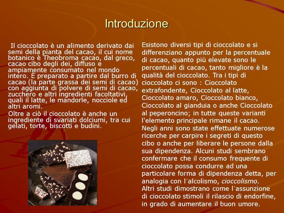 Introduzione Il cioccolato è un alimento derivato dai semi della pianta del cacao, il cui nome botanico è Theobroma cacao, dal greco, cacao cibo degli