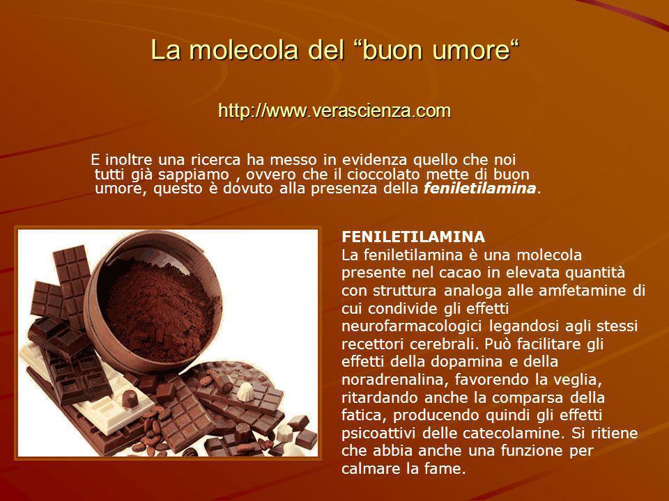 La molecola del buon umore http://www.verascienza.com E inoltre una ricerca ha messo in evidenza quello che noi tutti già sappiamo, ovvero che il cioccolato mette di buon umore, questo è dovuto alla presenza della feniletilamina.