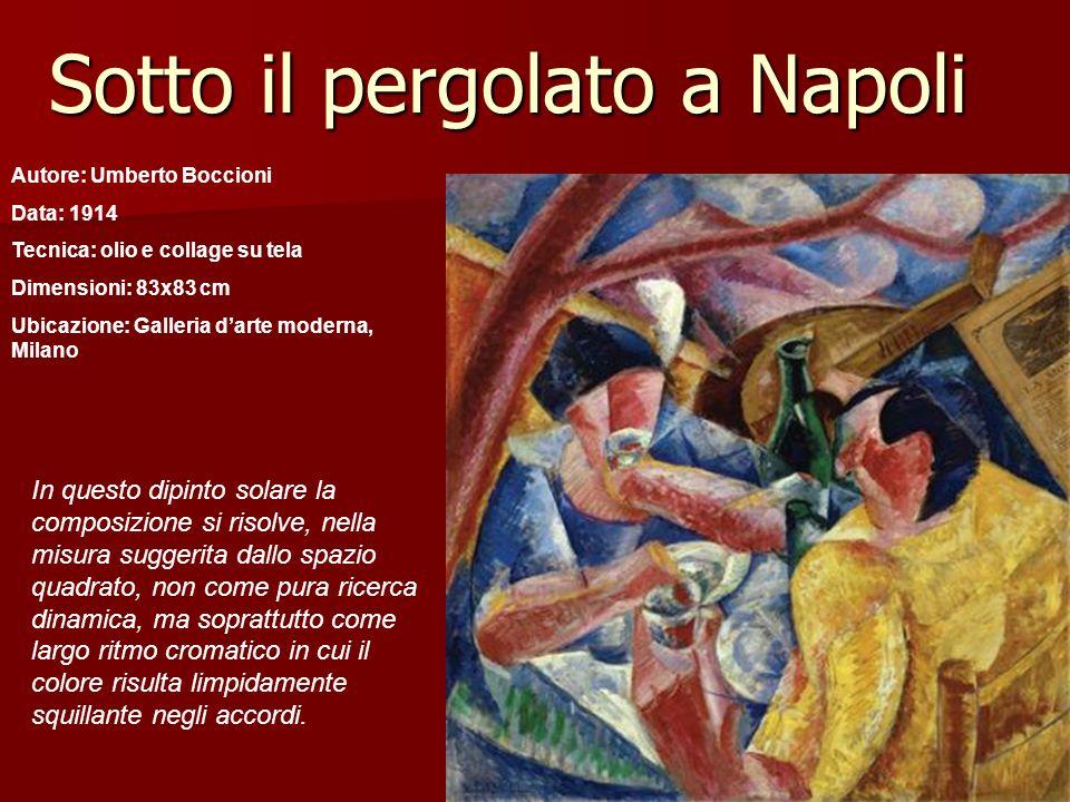 Sotto il pergolato a Napoli Autore: Umberto Boccioni Data: 1914 Tecnica: olio e collage su tela Dimensioni: 83x83 cm Ubicazione: Galleria darte modern