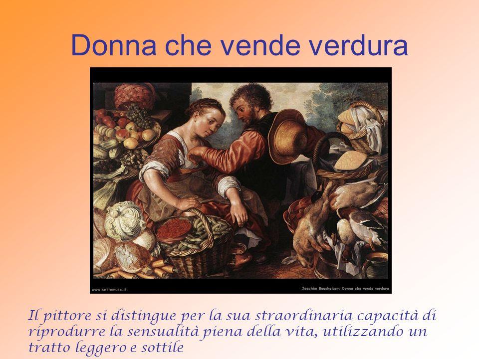 Donna che vende verdura Il pittore si distingue per la sua straordinaria capacità di riprodurre la sensualità piena della vita, utilizzando un tratto leggero e sottile