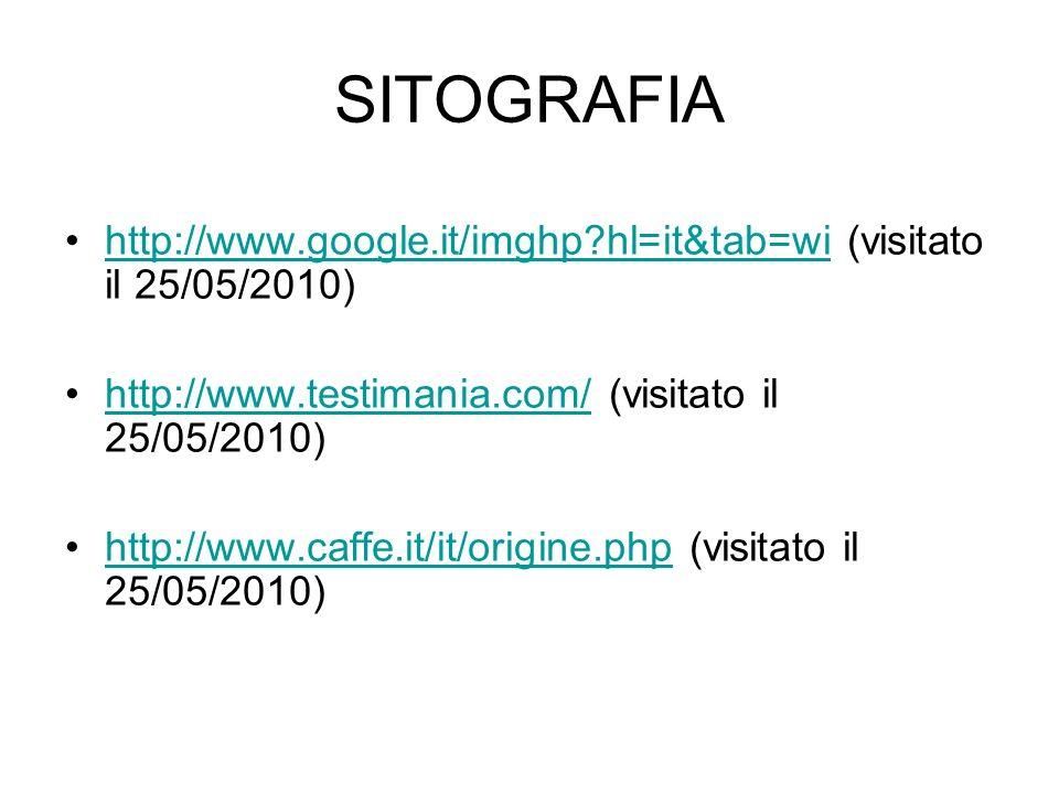 SITOGRAFIA http://www.google.it/imghp?hl=it&tab=wi (visitato il 25/05/2010)http://www.google.it/imghp?hl=it&tab=wi http://www.testimania.com/ (visitat