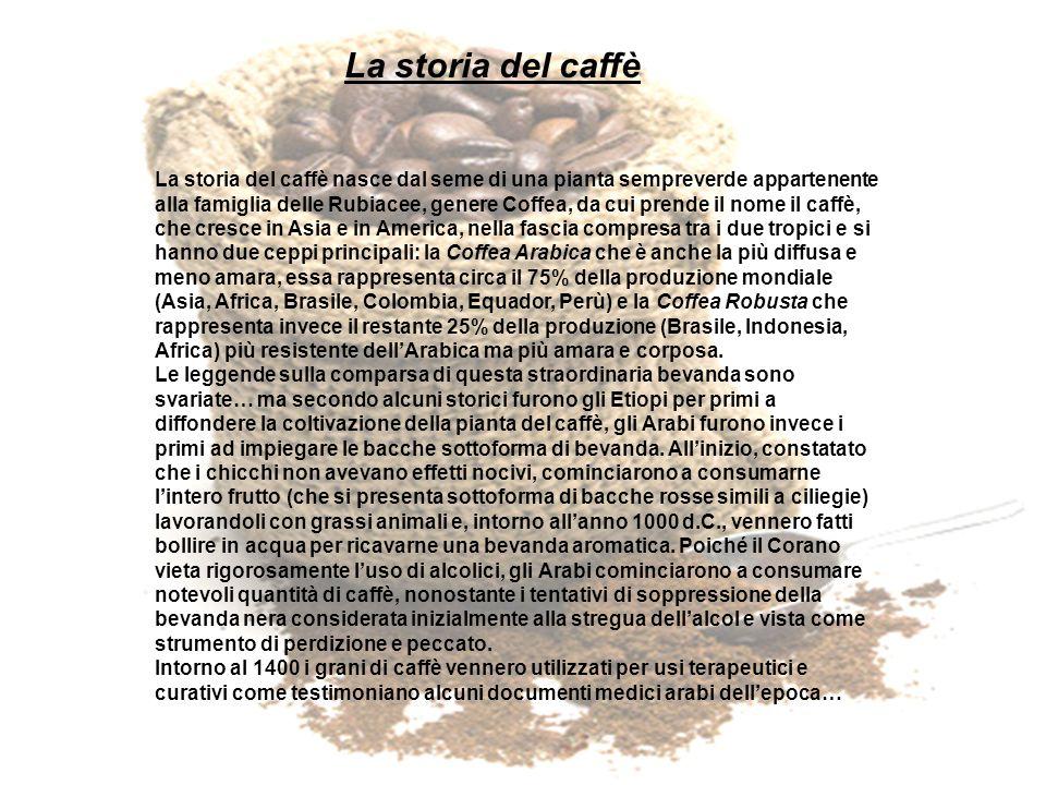 …Nella seconda metà del 1500, a Costantinopoli, vennero aperti i primi caffè riservati a personaggi distinti e ben presto i caffè divennero luogo dincontro per diplomatici, artisti, scrittori, intellettuali… Da lì allEuropa il salto fu breve… i Veneziani iniziarono ad importare questa usanza intorno al 1600 e dalla prima caffetteria nata a Venezia intorno alla metà dello stesso secolo, fu tale il successo che circa centanni dopo erano diventate un paio di centinaia.