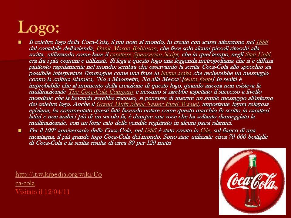 Logo: Il celebre logo della Coca-Cola, il più noto al mondo, fu creato con scarsa attenzione nel 1886 dal contabile dell'azienda, Frank Mason Robinson