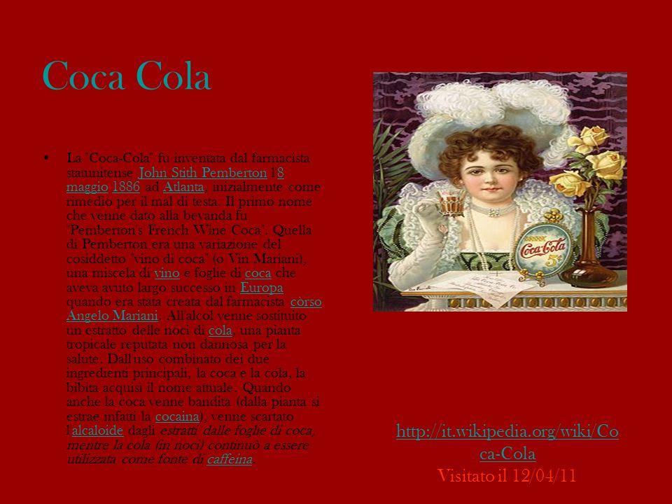 Logo: Il celebre logo della Coca-Cola, il più noto al mondo, fu creato con scarsa attenzione nel 1886 dal contabile dell azienda, Frank Mason Robinson, che fece solo alcuni piccoli ritocchi alla scritta, utilizzando come base il carattere Spencerian Script, che in quel tempo, negli Stati Uniti era fra i più comuni e utilizzati.