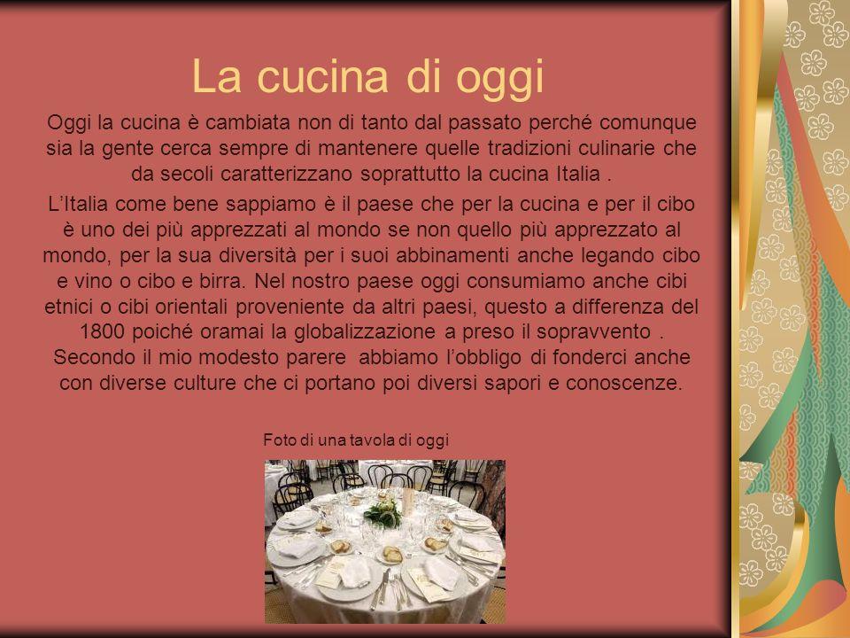 La cucina di oggi Oggi la cucina è cambiata non di tanto dal passato perché comunque sia la gente cerca sempre di mantenere quelle tradizioni culinari