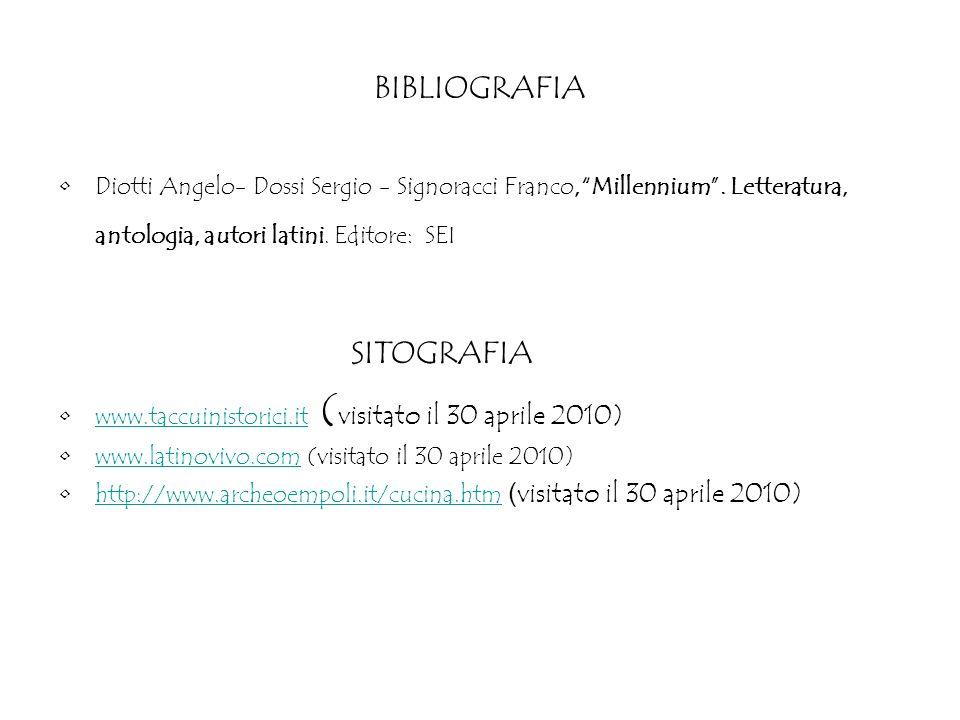BIBLIOGRAFIA Diotti Angelo- Dossi Sergio - Signoracci Franco,Millennium. Letteratura, antologia, autori latini. Editore: SEI SITOGRAFIA www.taccuinist