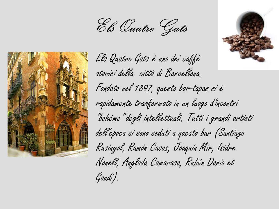 Els Quatre Gats Els Quatre Gats è uno dei caffè storici della città di Barcellona. Fondato nel 1897, questo bar-tapas si è rapidamente trasformato in