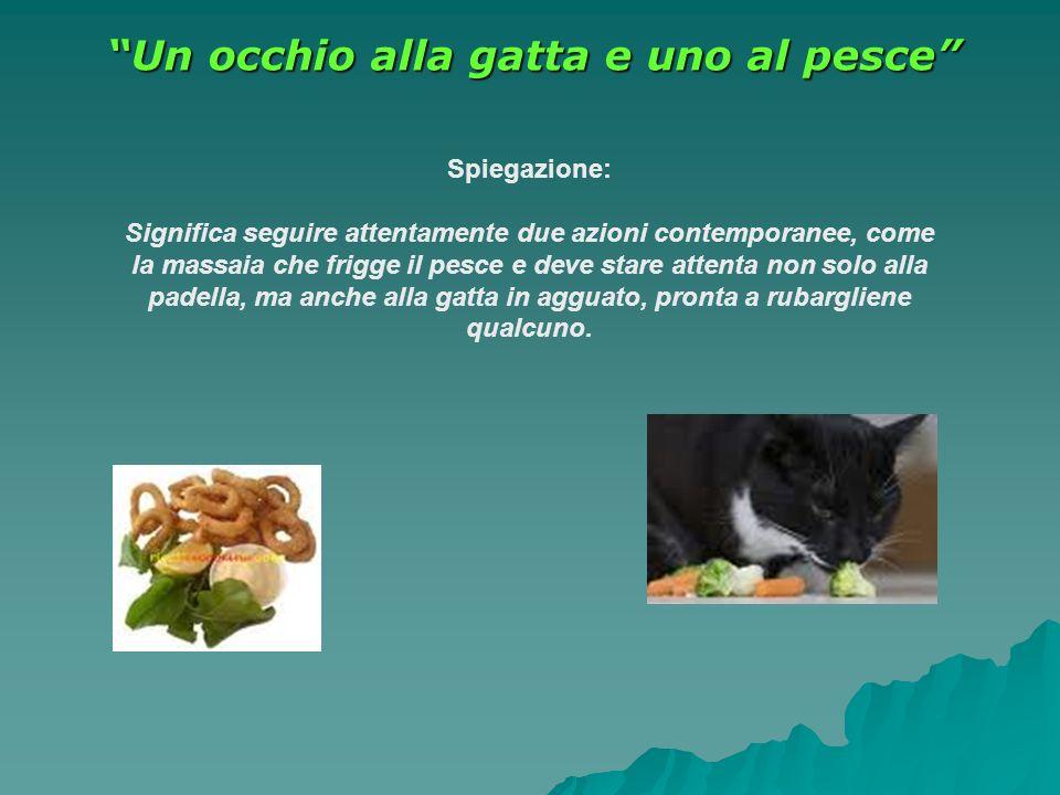 Un occhio alla gatta e uno al pesce Spiegazione: Significa seguire attentamente due azioni contemporanee, come la massaia che frigge il pesce e deve s