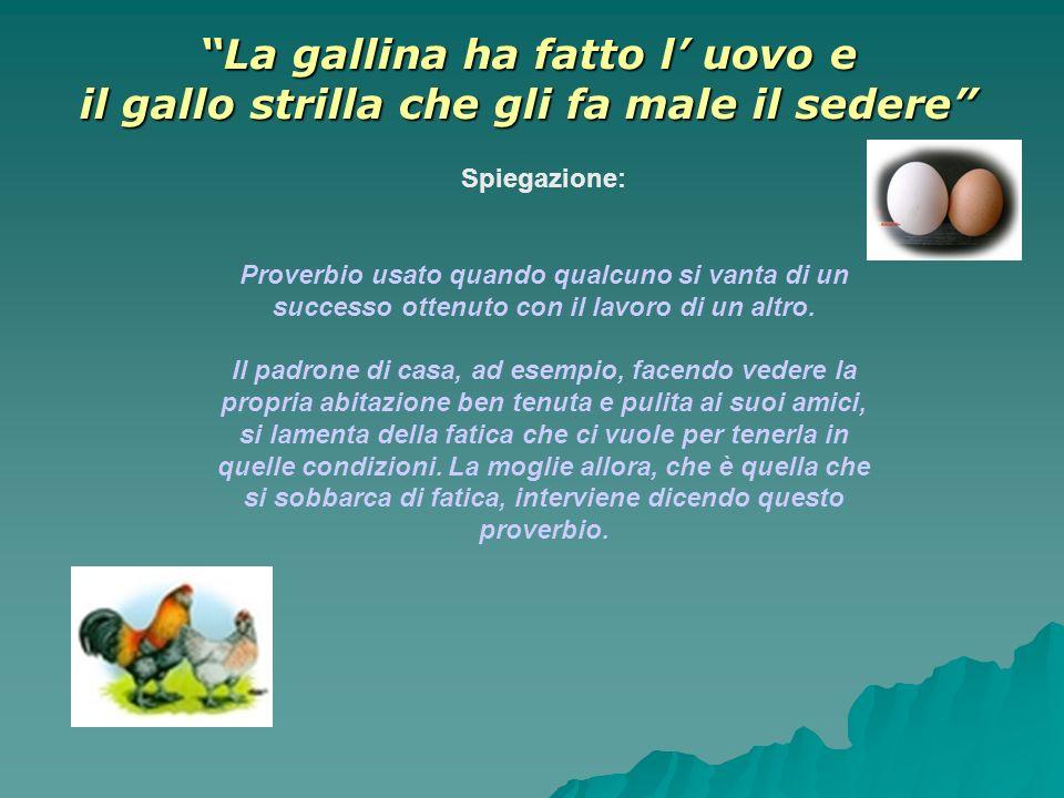 La gallina ha fatto l uovo e il gallo strilla che gli fa male il sedere Spiegazione: Proverbio usato quando qualcuno si vanta di un successo ottenuto