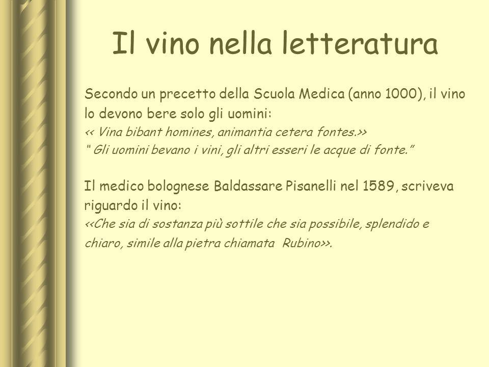 Il vino nella letteratura Secondo un precetto della Scuola Medica (anno 1000), il vino lo devono bere solo gli uomini: > Gli uomini bevano i vini, gli