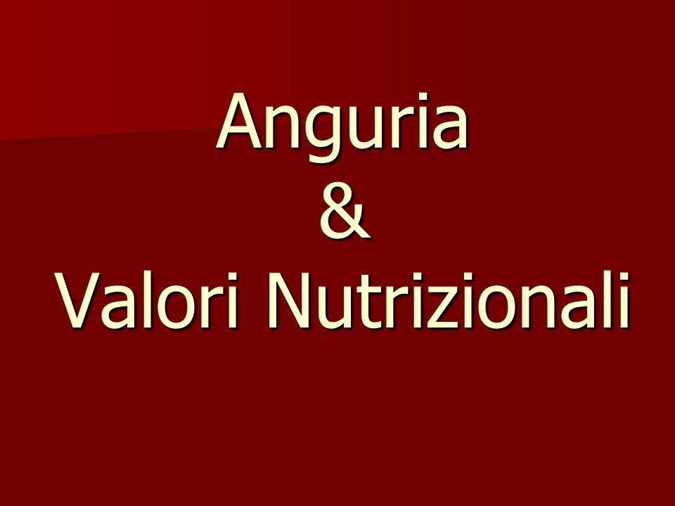 Per 154 g di anguria: Le percentuali sono basate su una dieta di 2000 calorie http://www.wolframalpha.com/input/?i=watermelon http://www.wolframalpha.com/input/?i=watermelon :visitato il 22/03/2011