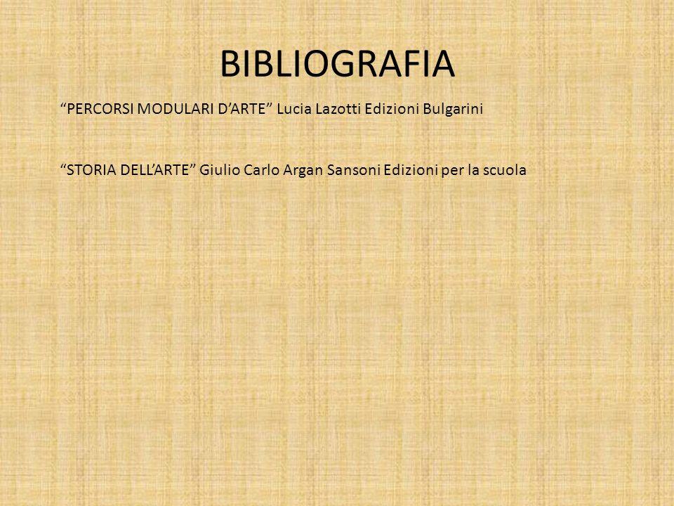 BIBLIOGRAFIA PERCORSI MODULARI DARTE Lucia Lazotti Edizioni Bulgarini STORIA DELLARTE Giulio Carlo Argan Sansoni Edizioni per la scuola