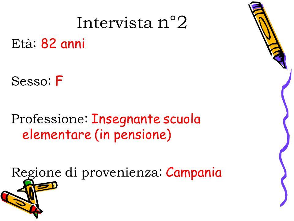 Intervista n°2 Età : 82 anni Sesso : F Professione : Insegnante scuola elementare (in pensione) Regione di provenienza : Campania