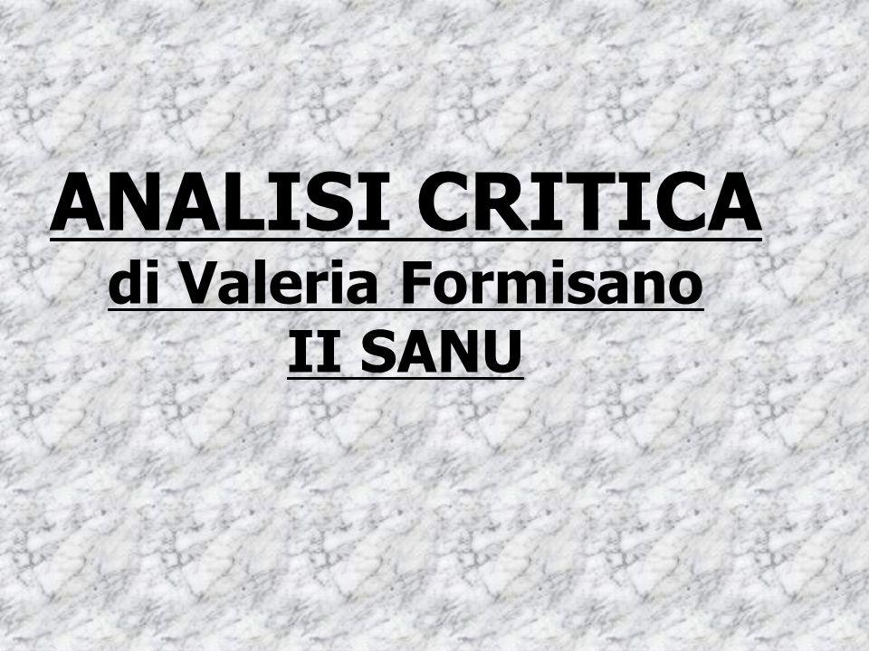 ANALISI CRITICA di Valeria Formisano II SANU