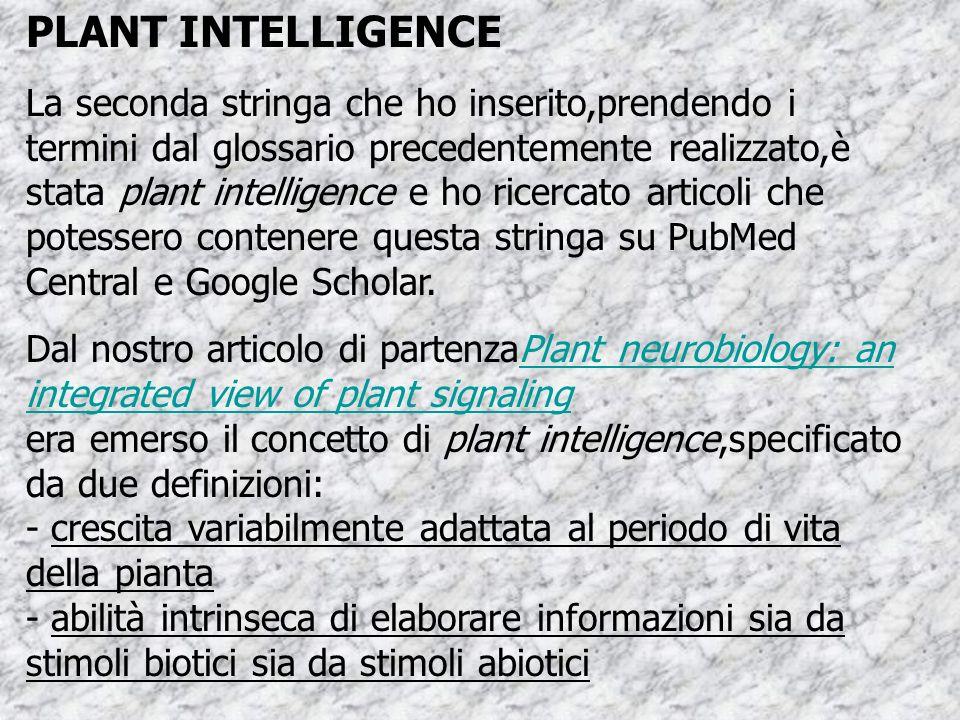 PLANT INTELLIGENCE La seconda stringa che ho inserito,prendendo i termini dal glossario precedentemente realizzato,è stata plant intelligence e ho ricercato articoli che potessero contenere questa stringa su PubMed Central e Google Scholar.