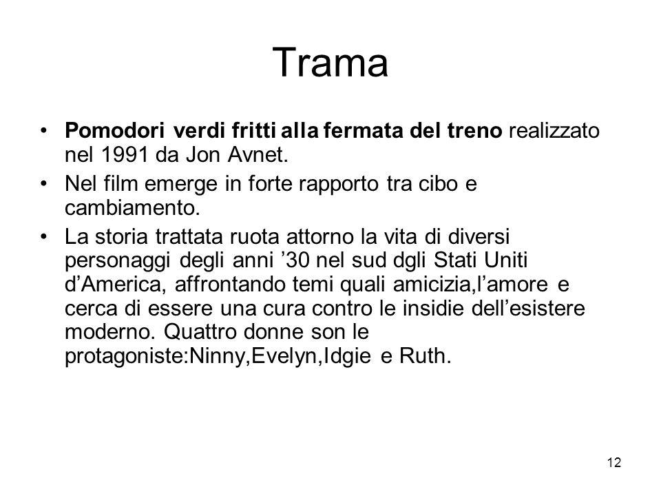 12 Trama Pomodori verdi fritti alla fermata del treno realizzato nel 1991 da Jon Avnet. Nel film emerge in forte rapporto tra cibo e cambiamento. La s
