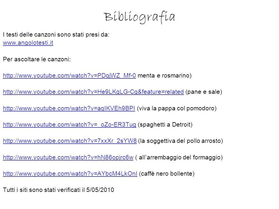 Bibliografia I testi delle canzoni sono stati presi da: www.angolotesti.it Per ascoltare le canzoni: http://www.youtube.com/watch?v=PDqjWZ_Mf-0http://