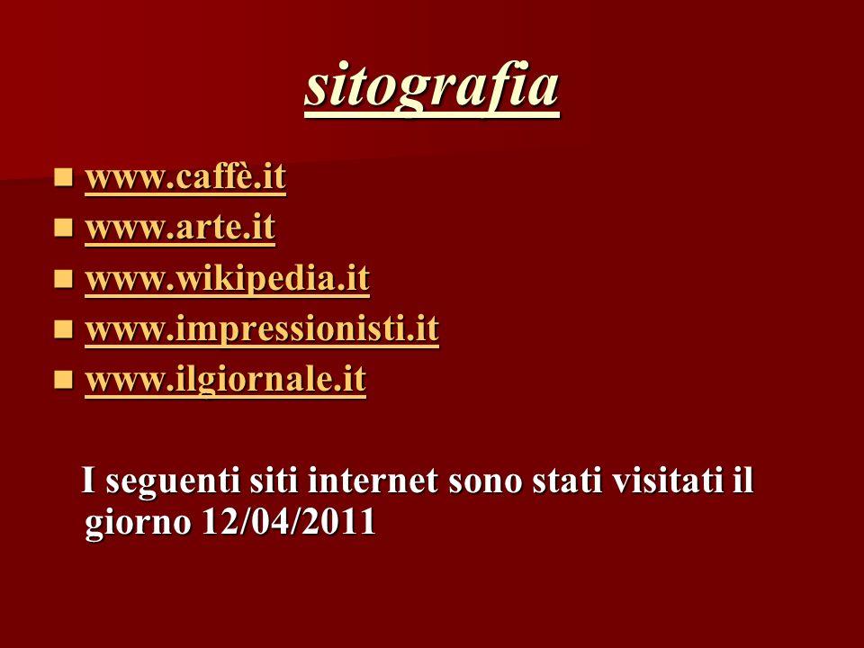 sitografia www.caffè.it www.caffè.it www.caffè.it www.arte.it www.arte.it www.arte.it www.wikipedia.it www.wikipedia.it www.wikipedia.it www.impressio