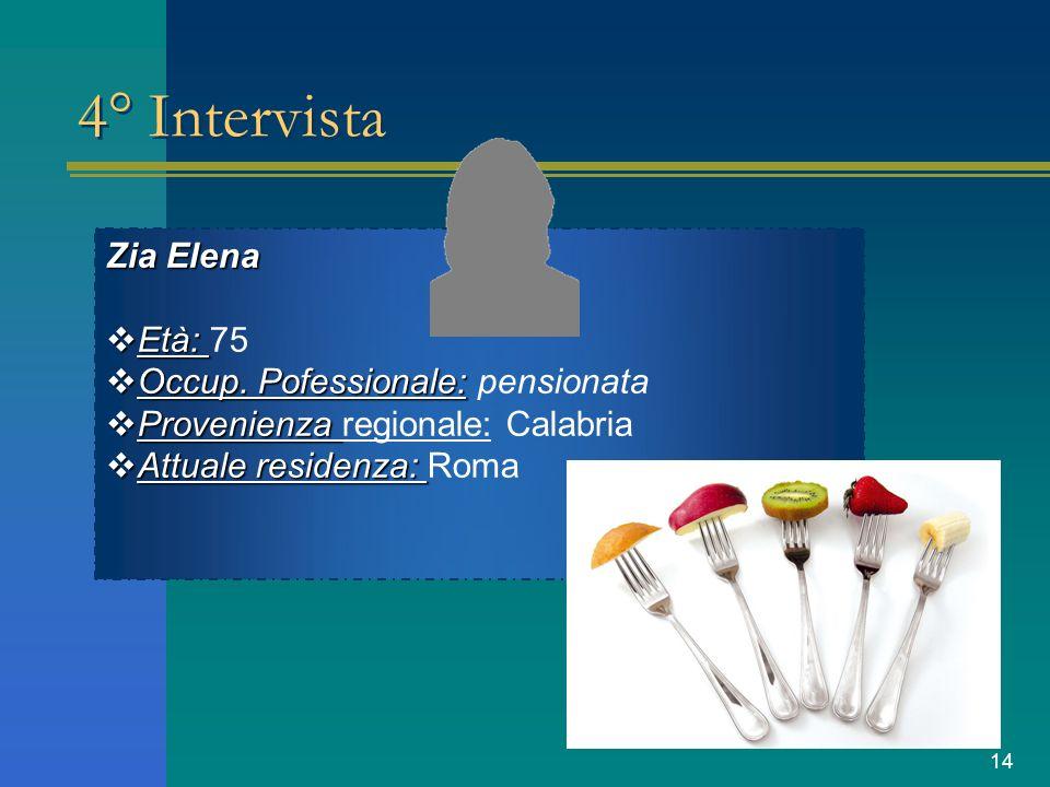 14 4° Intervista Zia Elena Età: 75 Occup. Pofessionale: pensionata Provenienza regionale: Calabria Attuale residenza: Roma