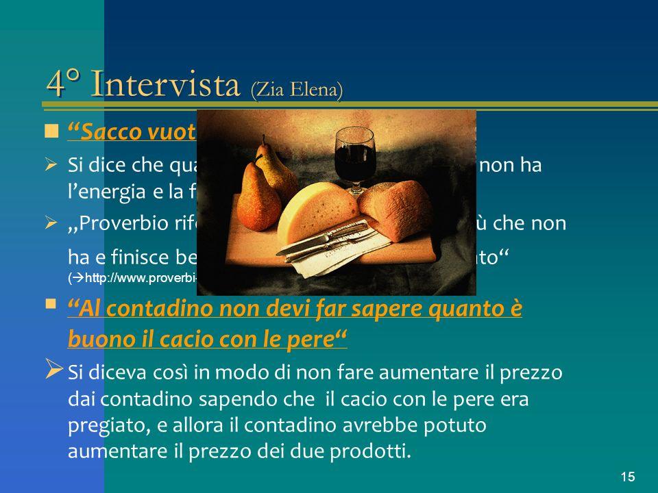 15 4° Intervista (Zia Elena) Sacco vuoto non sta in piedi Si dice che quando una persona non si nutre non ha lenergia e la forza per stare in piedi. P