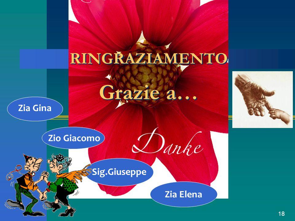 18 Zia Elena RINGRAZIAMENTO Grazie a… Zio Giacomo Zia Gina Sig.Giuseppe