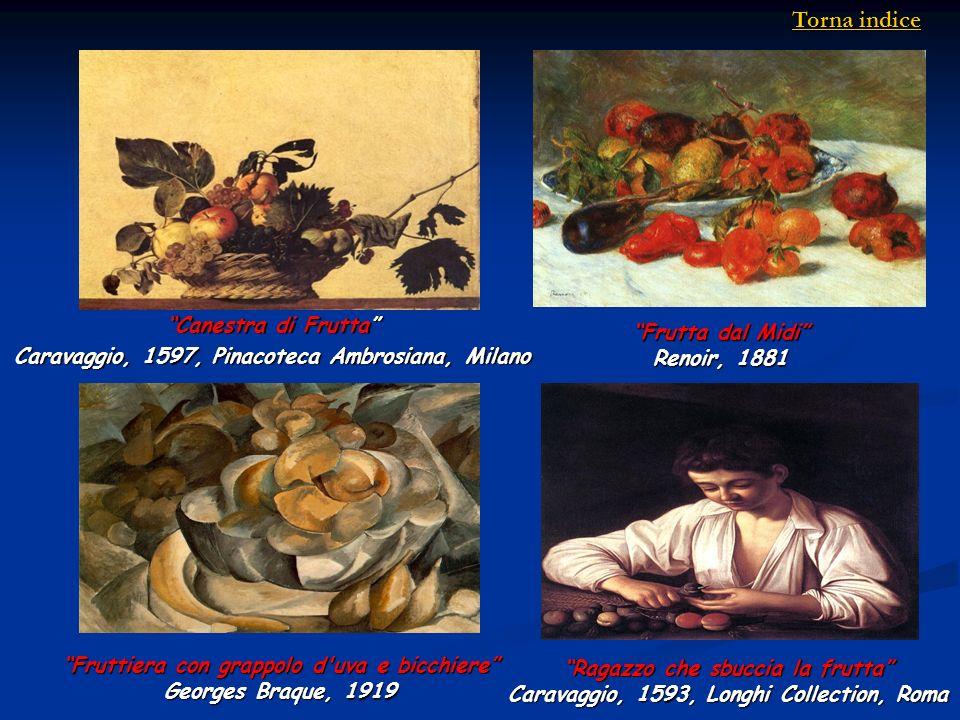 Fruttiera con grappolo d'uva e bicchiere Georges Braque, 1919 Ragazzo che sbuccia la frutta Caravaggio, 1593, Longhi Collection, Roma Canestra di Frut