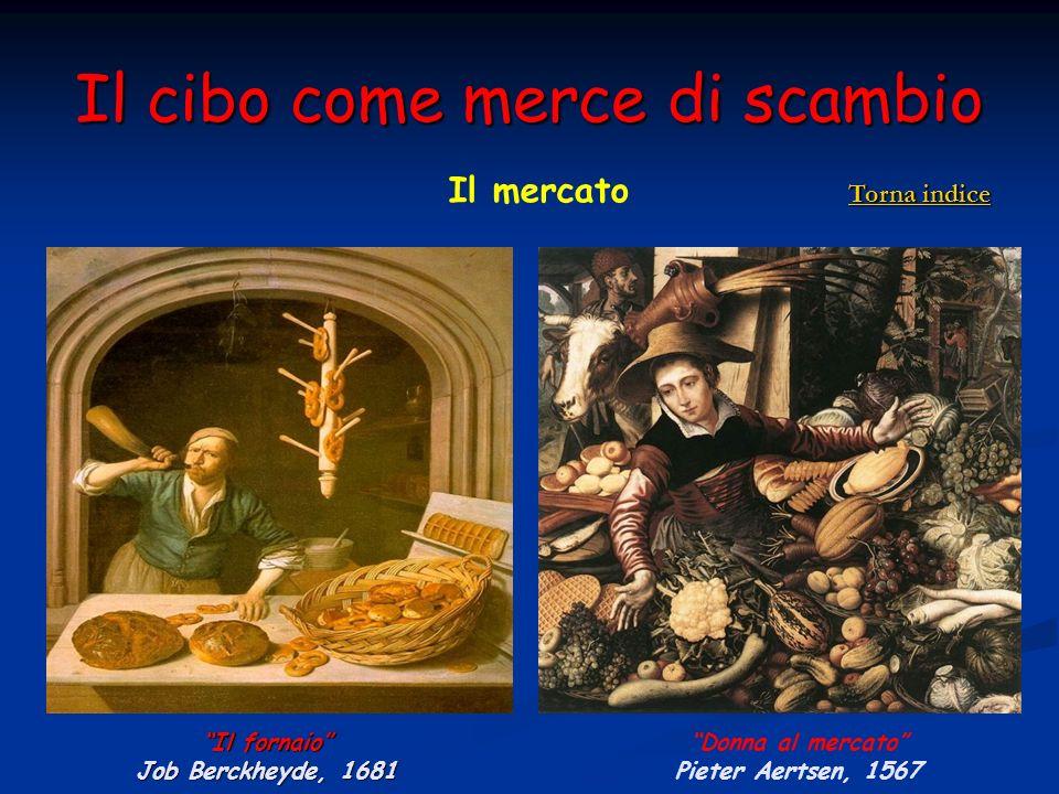 Il cibo come merce di scambio Il fornaio Job Berckheyde, 1681 Donna al mercato Pieter Aertsen, 1567 Il mercato Torna indice Torna indice