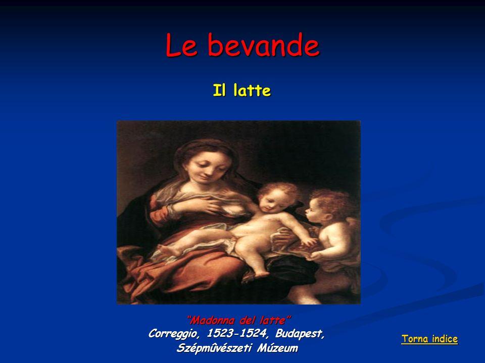Le bevande Il latte Madonna del latte Correggio, 1523-1524, Budapest, Szépmûvészeti Múzeum Torna indice Torna indice