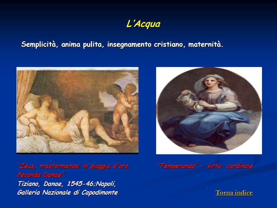 Zeus, trasformatosi in pioggia d'oro feconda Danae Tiziano, Danae, 1545-46;Napoli, Galleria Nazionale di Capodimonte LAcqua Temperanza - virtù cardina